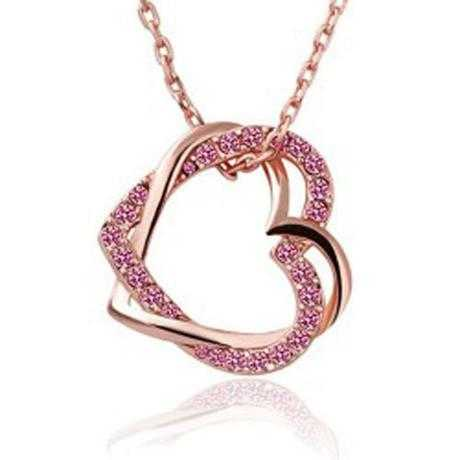 Free Austrian Crystal Double Heart Necklace-Necklace-Kirijewels.com-Rose Red-Kirijewels.com