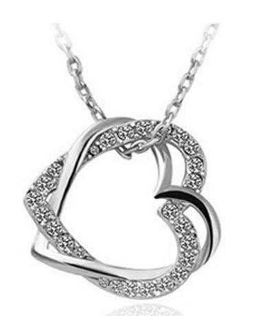 Free Austrian Crystal Double Heart Necklace-Necklace-Kirijewels.com-Silver-Kirijewels.com