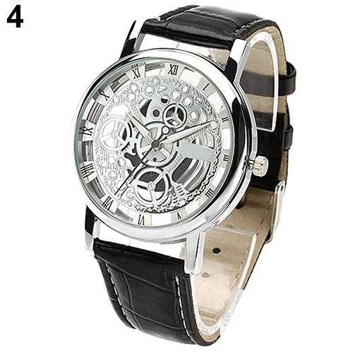 Skeleton Sports Dress Wrist Watch-Watch-Kirijewels.com-Black S White D-Kirijewels.com
