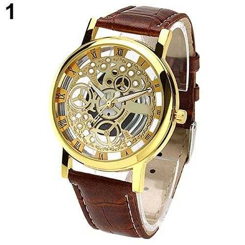 Skeleton Sports Dress Wrist Watch-Watch-Kirijewels.com-Brown S Golden D-Kirijewels.com