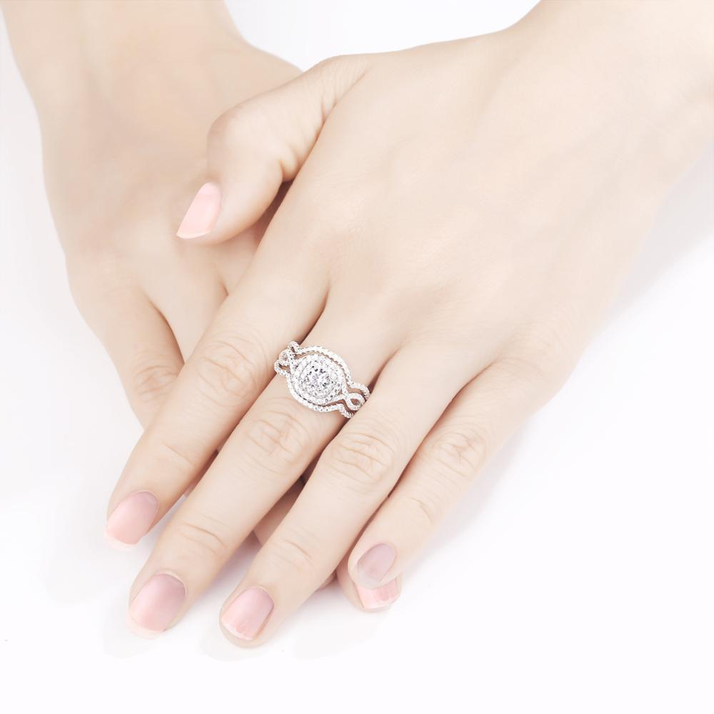 Beautiful 2.1Ct 3Pcs Solid 925 Sterling Silver Wedding Ring Sets Engagement Band Gift Jewelry For Women Size 5 6 7 8 9 10
