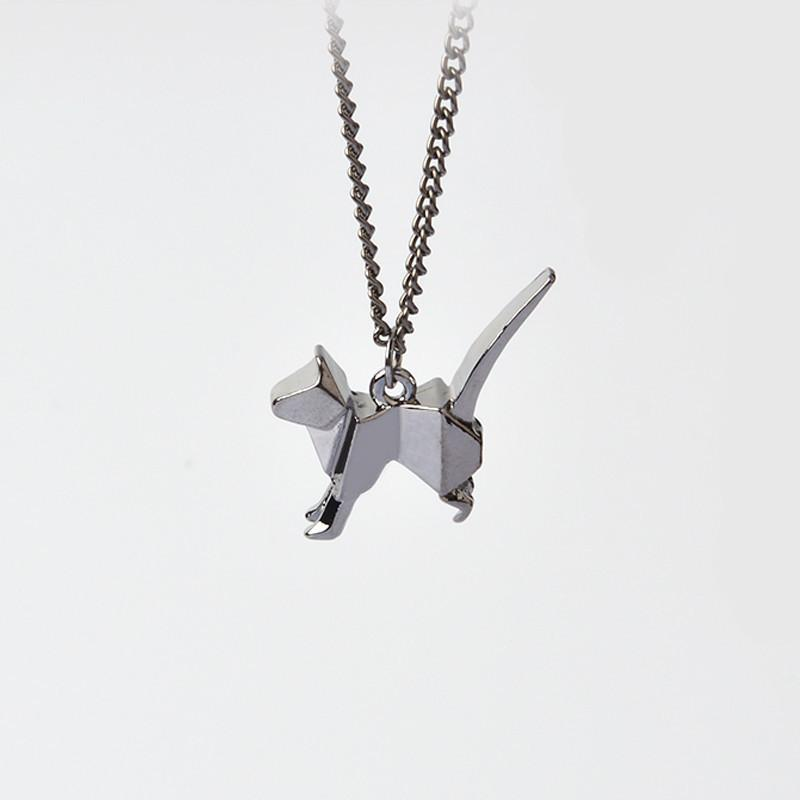 Cat Origami Pendant Necklace-Pendant Necklaces-Kirijewels.com-black-Kirijewels.com
