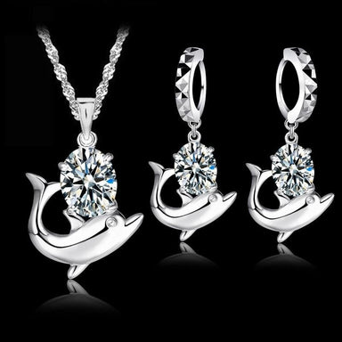 Austrian Crystal 925 Sterling Silver Dolphin Jewelry Set-Jewelry Sets-Kirijewels.com-silver-Kirijewels.com