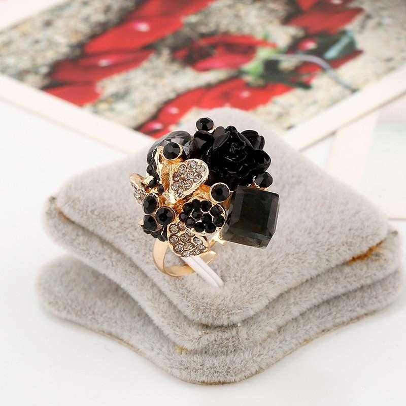 Free Purple Crystal Adjustable Flower Ring-Rings-Kirijewels.com-Resizable-Black-Kirijewels.com