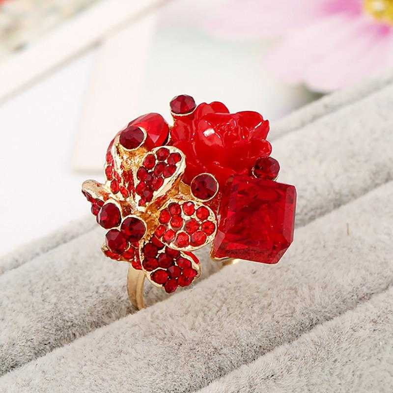 Free Purple Crystal Adjustable Flower Ring-Rings-Kirijewels.com-Resizable-Red-Kirijewels.com