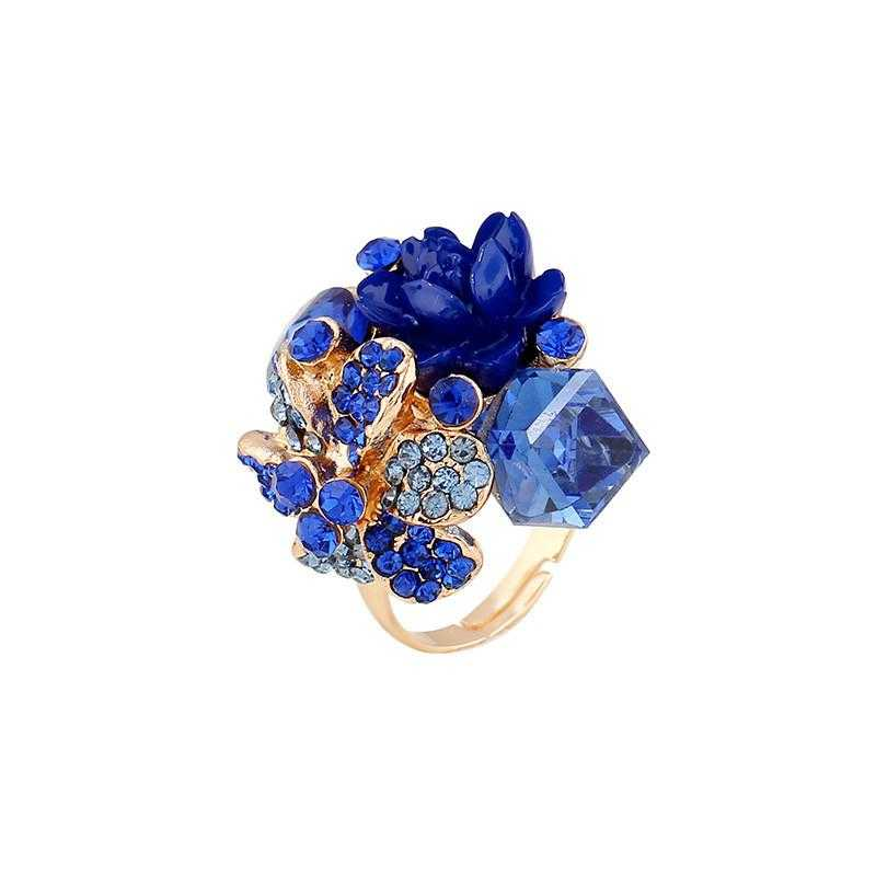 Free Purple Crystal Adjustable Flower Ring-Rings-Kirijewels.com-Resizable-Blue-Kirijewels.com