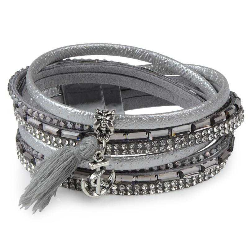 Free Feather Leather Magnetic Bracelet-Wrap Bracelets-Kirijewels.com-Black No 7-Kirijewels.com