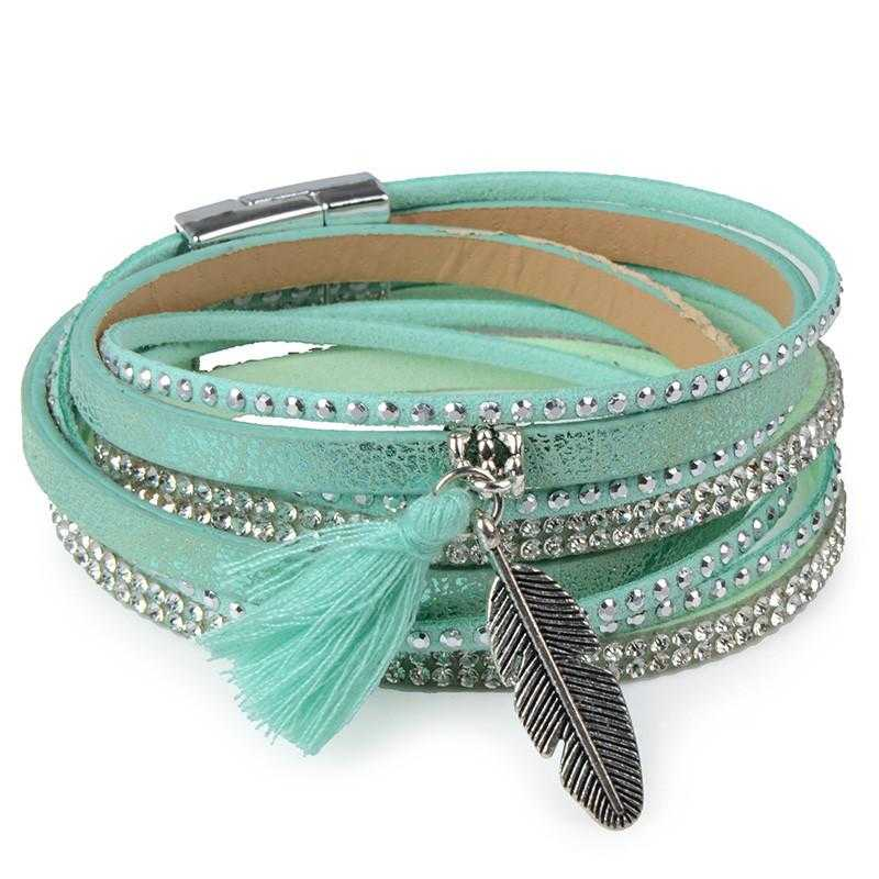 Free Feather Leather Magnetic Bracelet-Wrap Bracelets-Kirijewels.com-Green No 10-Kirijewels.com