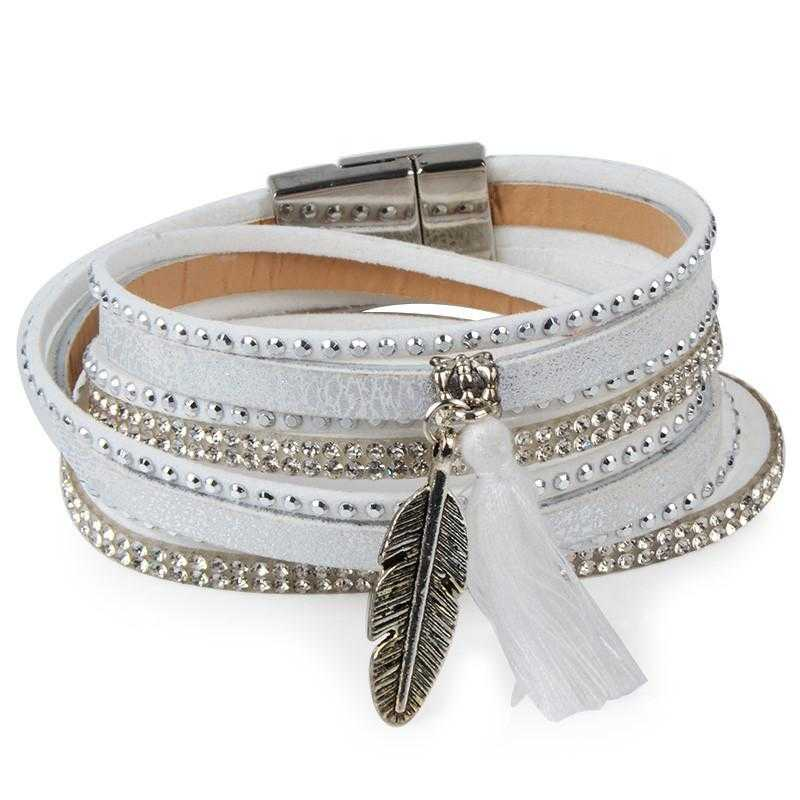 Free Feather Leather Magnetic Bracelet-Wrap Bracelets-Kirijewels.com-White No 11-Kirijewels.com