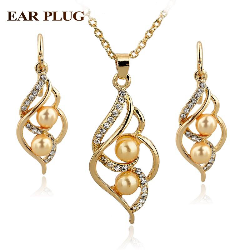 Pearl Wedding Jewelry Set-Jewelry Sets-Kirijewels.com-Gold Yellow-Kirijewels.com
