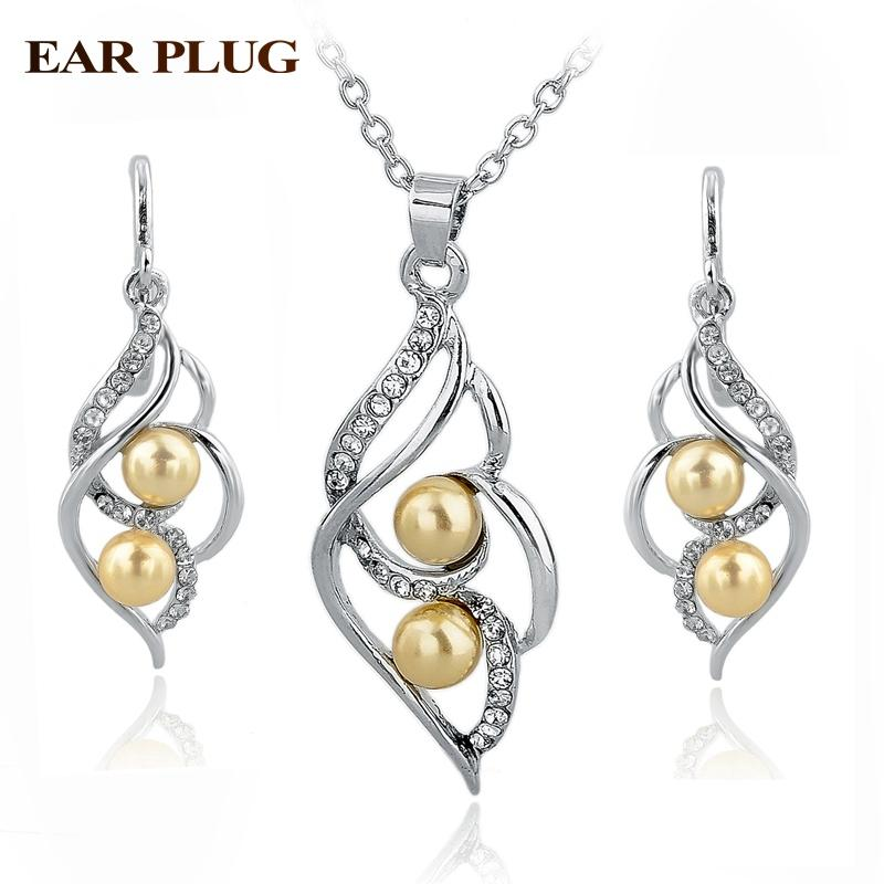 Pearl Wedding Jewelry Set-Jewelry Sets-Kirijewels.com-Silver Yellow-Kirijewels.com