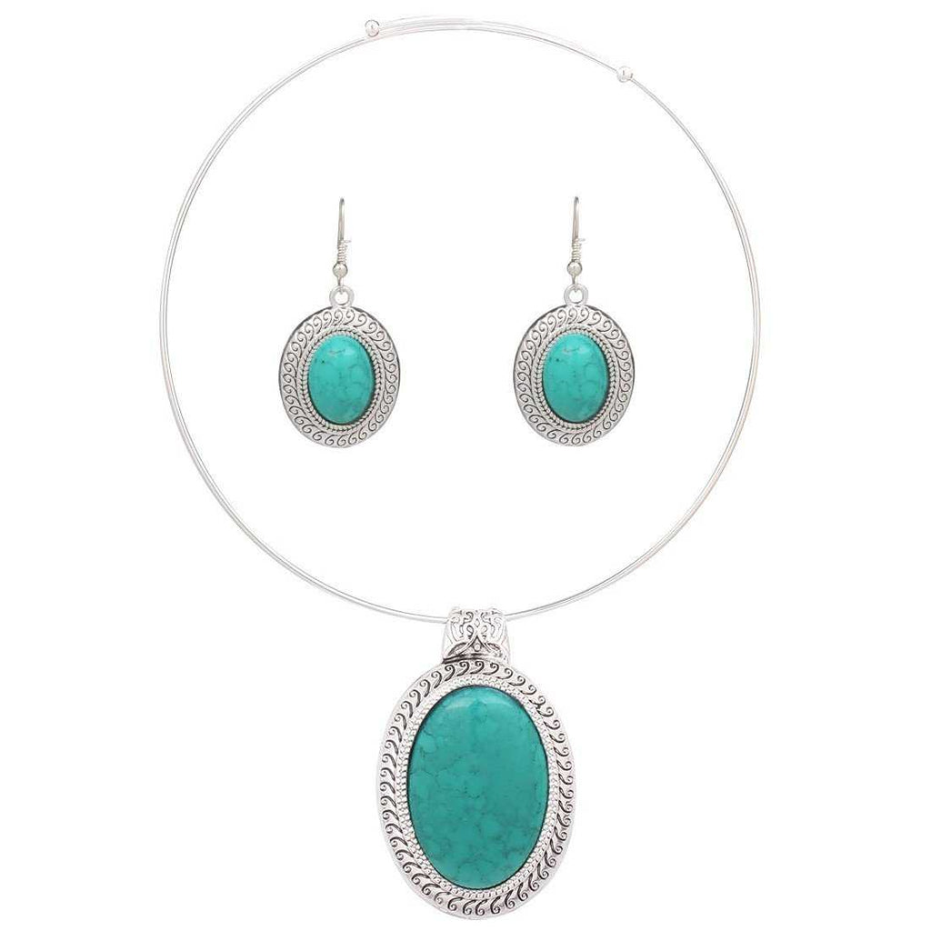 Silver Plated Oval Turquoise Necklace-Necklace-Kirijewels.com-Green-Kirijewels.com