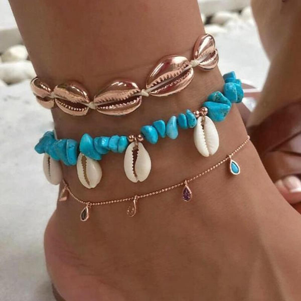 Lea Layered Gold Shell Charm Anklet Bracelet