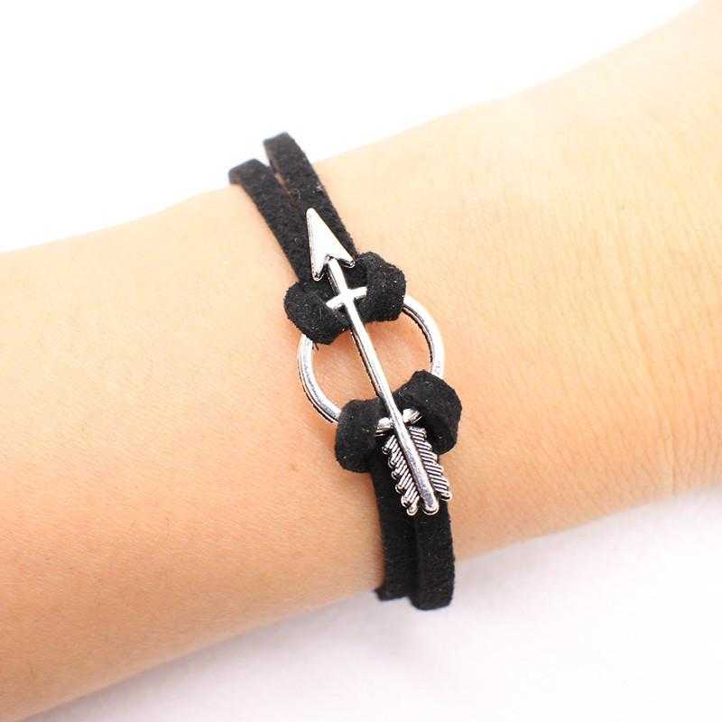 Love Heart Leather Charm Bracelet-Charm Bracelets-Kirijewels.com-Silver Arrow-Kirijewels.com