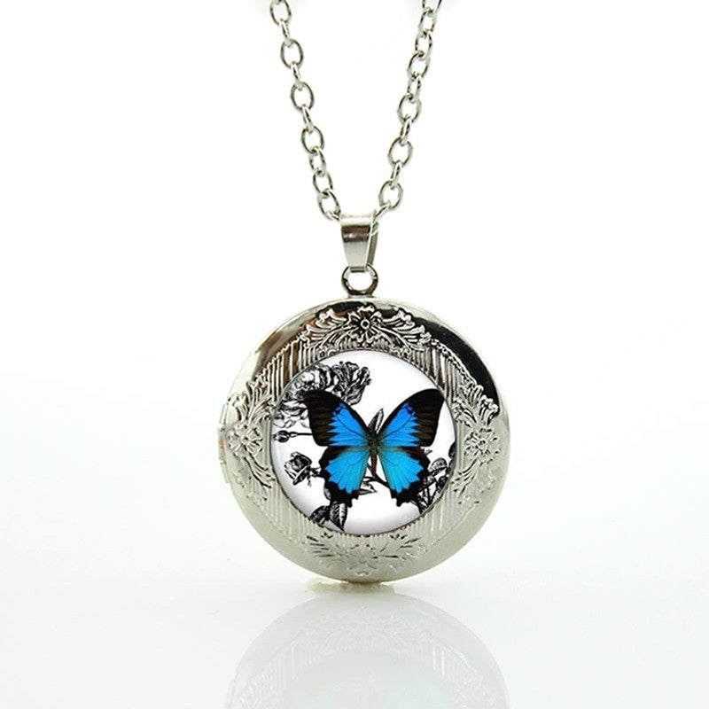 Free Blue Butterfly Pendant Necklace-Pendant Necklaces-Kirijewels.com-Silver N467-Kirijewels.com