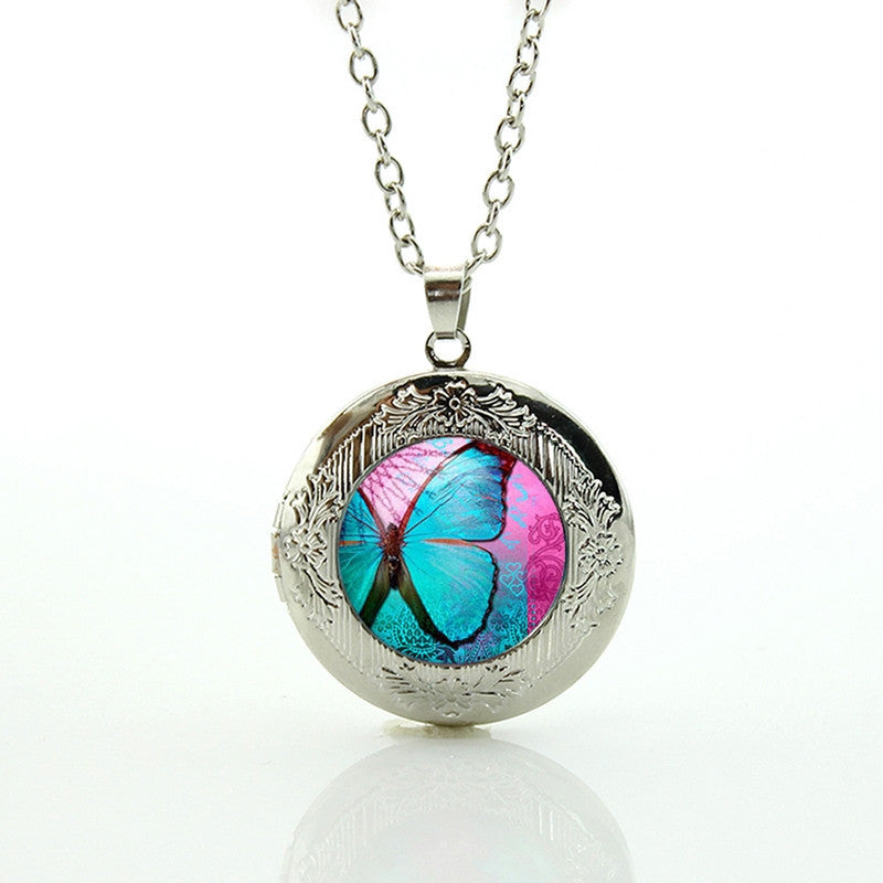 Free Blue Butterfly Pendant Necklace-Pendant Necklaces-Kirijewels.com-Silver N675-Kirijewels.com