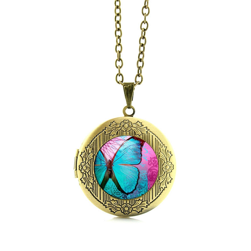 Free Blue Butterfly Pendant Necklace-Pendant Necklaces-Kirijewels.com-Gold N675 2-Kirijewels.com
