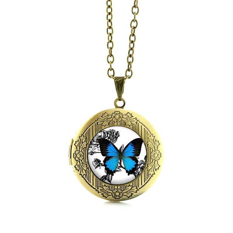 Free Blue Butterfly Pendant Necklace-Pendant Necklaces-Kirijewels.com-Gold N467 2-Kirijewels.com
