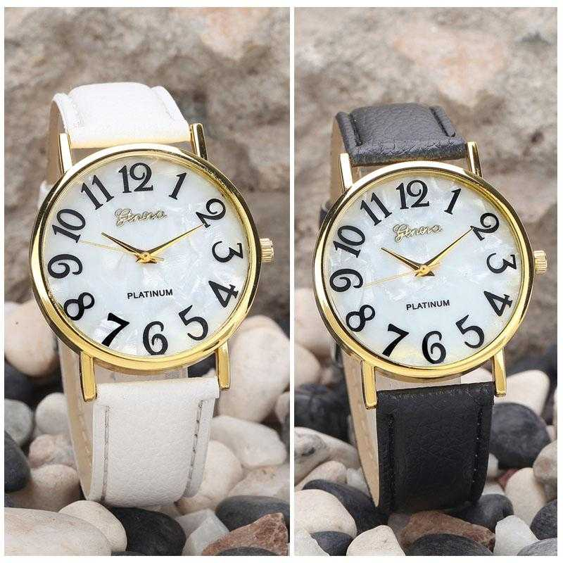 Digital Dial Leather Band Quartz Analog Wrist Watch-Women's Watches-Kirijewels.com-White-Kirijewels.com