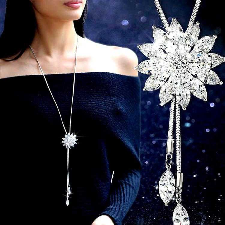 White Crystal Sunflower Necklace-Pendant Necklaces-Kirijewels.com-white-Kirijewels.com
