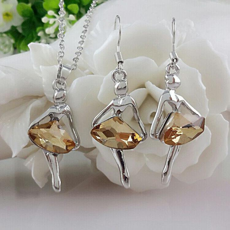Austrian Crystal Fantasy Ballet Girl Jewelry Set-Jewelry Sets-Kirijewels.com-crystal bronze-Kirijewels.com