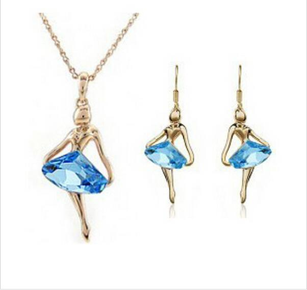 Austrian Crystal Fantasy Ballet Girl Jewelry Set-Jewelry Sets-Kirijewels.com-gold navy blue-Kirijewels.com