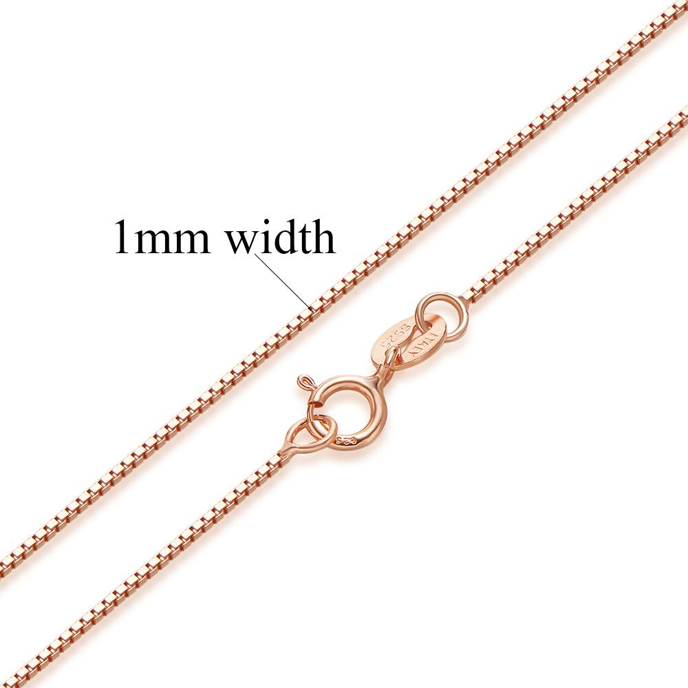 Authentic Sterling Silver Box Chain Necklace-Chain Necklaces-Kirijewels.com-Rose gold 3-40cm 16inch-Kirijewels.com