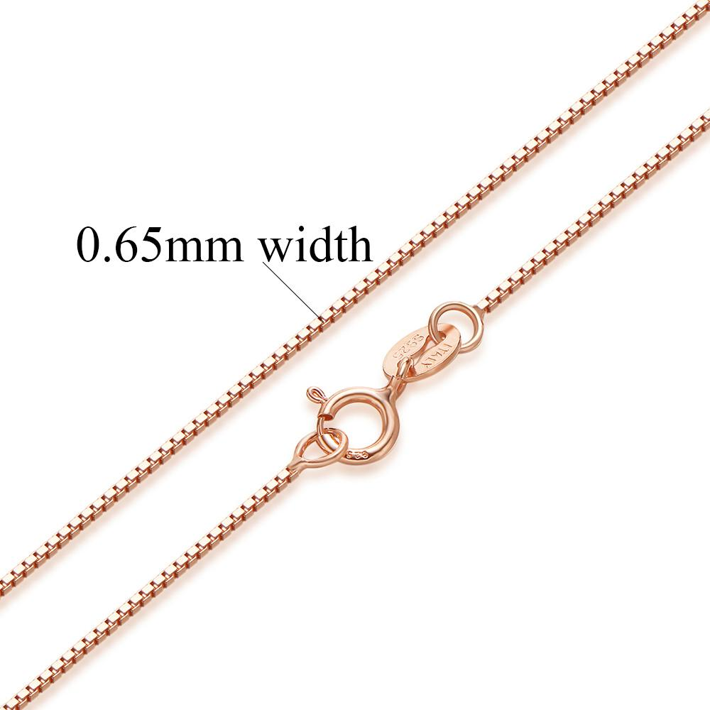 Authentic Sterling Silver Box Chain Necklace-Chain Necklaces-Kirijewels.com-Rose gold-40cm 16inch-Kirijewels.com