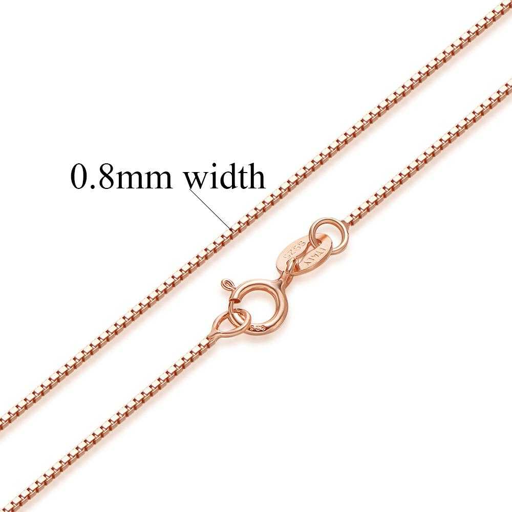 Authentic Sterling Silver Box Chain Necklace-Chain Necklaces-Kirijewels.com-Rose gold 2-40cm 16inch-Kirijewels.com