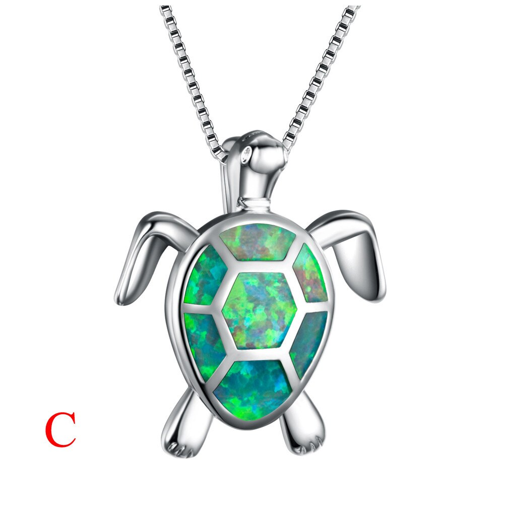 Valentine Memory Projection Opal Turtle Necklace