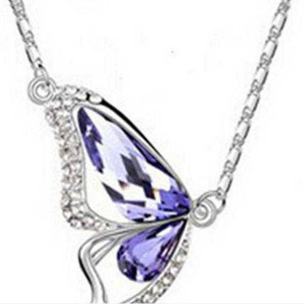 Crystal Butterfly Necklace-Necklace-Kirijewels.com-D Purple-40cm-Kirijewels.com