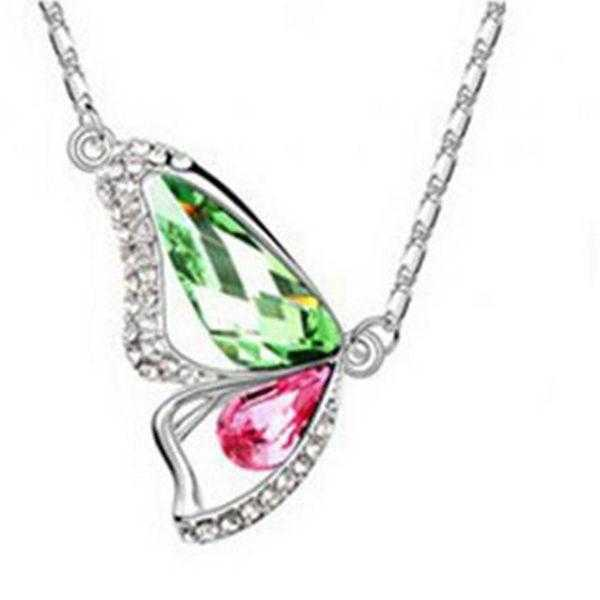 Crystal Butterfly Necklace-Necklace-Kirijewels.com-E Green-40cm-Kirijewels.com