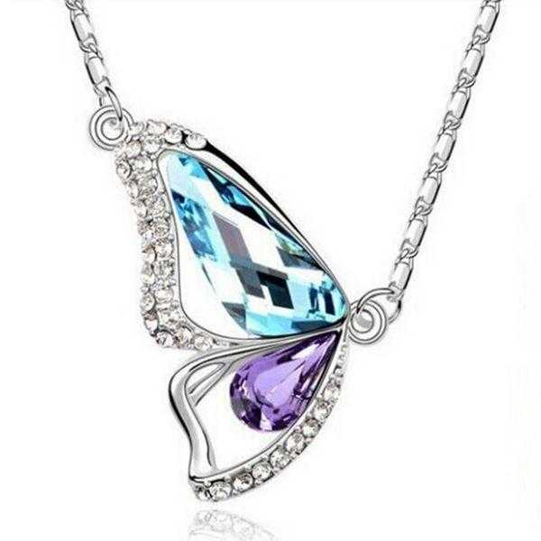 Crystal Butterfly Necklace-Necklace-Kirijewels.com-F Blue-40cm-Kirijewels.com