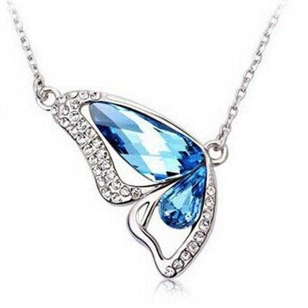 Crystal Butterfly Necklace-Necklace-Kirijewels.com-B Lake Blue-40cm-Kirijewels.com
