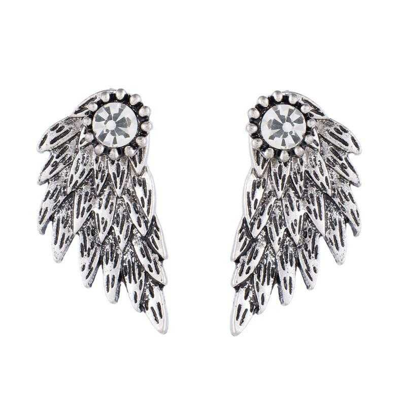 Free Angel Wings Alloy Crystal Stud Earrings-Stud Earrings-Kirijewels.com-Antique Silver-Kirijewels.com