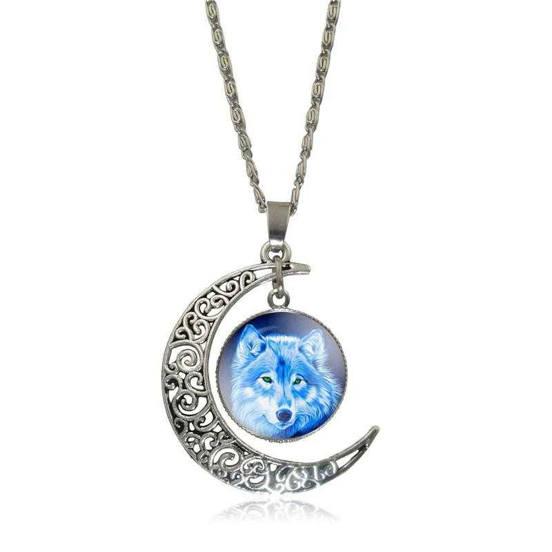 Free Moon Wolf Necklace-Necklace-Kirijewels.com-White S2952-Kirijewels.com