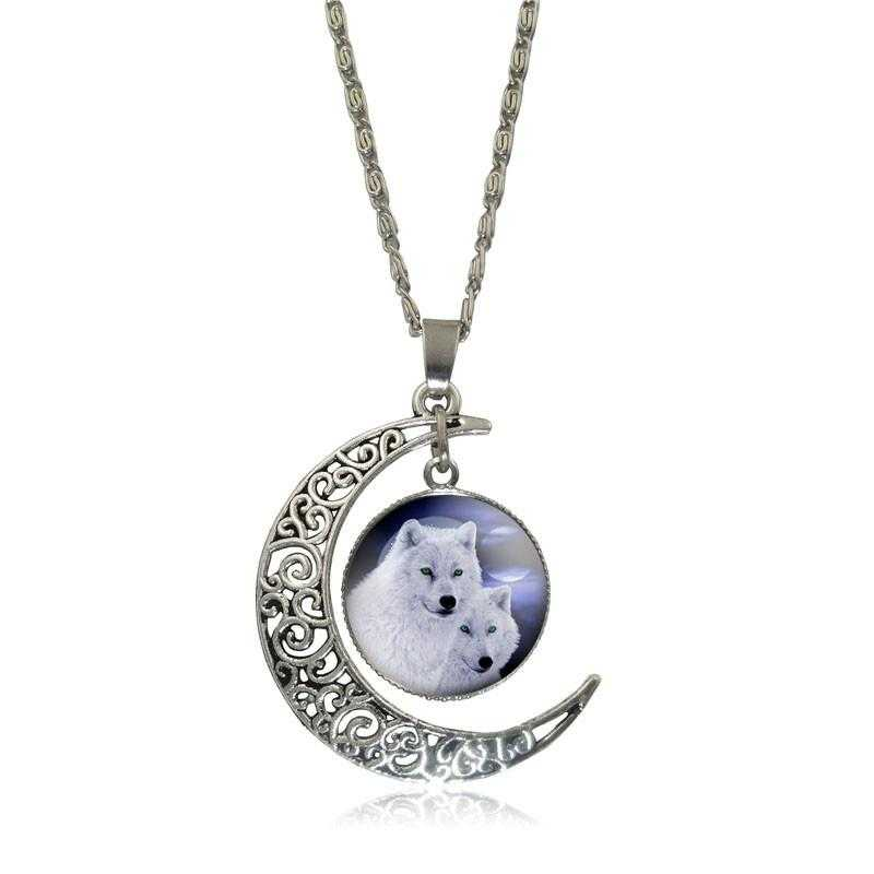 Free Moon Wolf Necklace-Necklace-Kirijewels.com-White S2953-Kirijewels.com