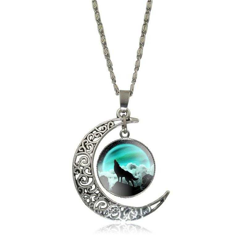 Free Moon Wolf Necklace-Necklace-Kirijewels.com-green S2957-Kirijewels.com