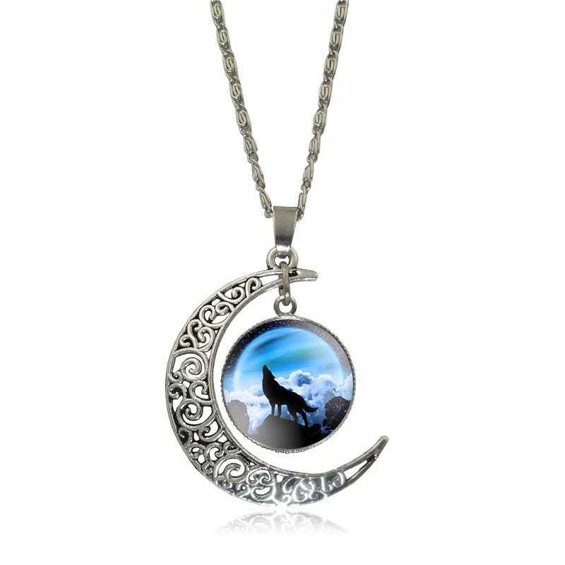Free Moon Wolf Necklace-Necklace-Kirijewels.com-blue S2956-Kirijewels.com