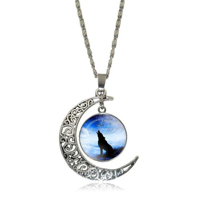 Free Moon Wolf Necklace-Necklace-Kirijewels.com-blue S2954-Kirijewels.com