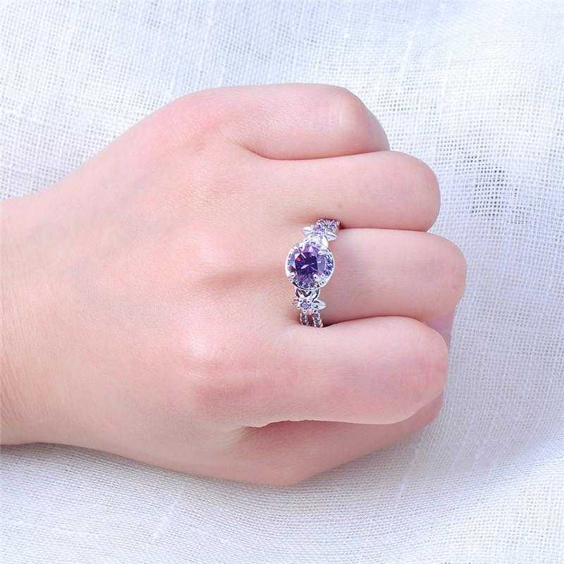 Free Sterling Silver Purple Zircon Claw Ring-Rings-Kirijewels.com-5-Purple-Kirijewels.com