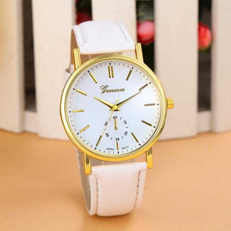 New Unisex Leather Band Analog WristWatch-Watch-Kirijewels.com-White-Kirijewels.com