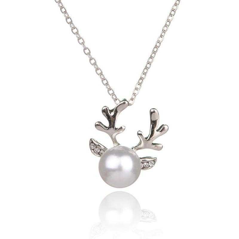 Free Simulated Pearl Antlers Christmas Necklace-Necklace-Kirijewels.com-Gold-Kirijewels.com