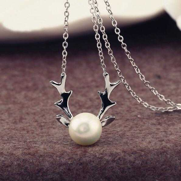 Free Simulated Pearl Antlers Christmas Necklace-Necklace-Kirijewels.com-Silver-Kirijewels.com