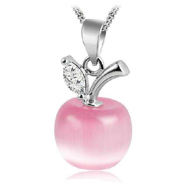 Free Apple Necklace-Necklace-Kirijewels.com-Platinum Plated-Pink-Kirijewels.com