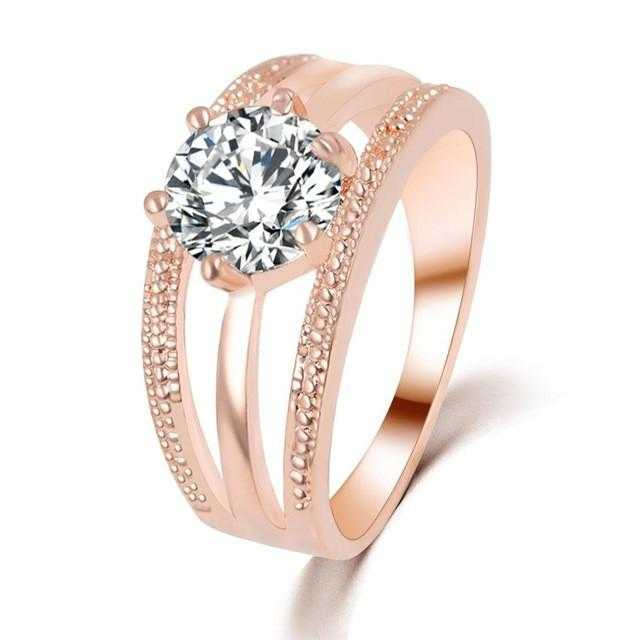 Austrian Crystal Flower Engagement Ring-Rings-Kirijewels.com-6-Gold-Kirijewels.com