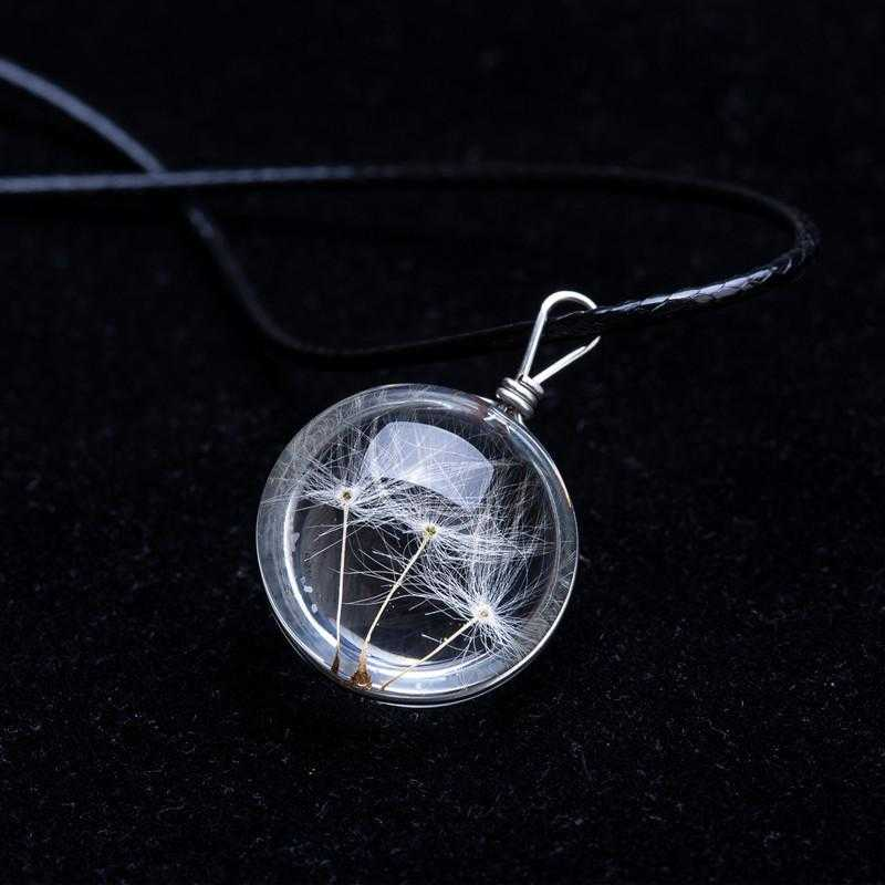 Crystal Glass Ball Dandelion Necklace-Pendant Necklaces-Kirijewels.com-White1-Kirijewels.com