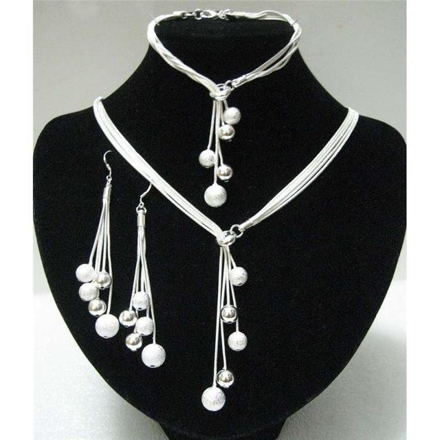 Sterling Silver Ball Jewelry Set