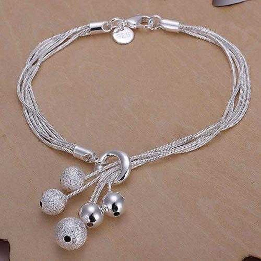 Sterling Silver Link Chain Ball Bracelet