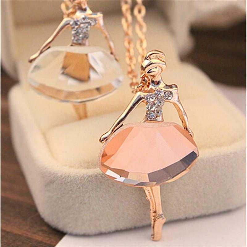 Free Ballet Girl Pendant Necklace-Necklace-Kirijewels.com-Brown-Kirijewels.com